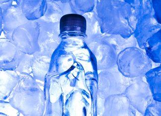 water bottle on ice