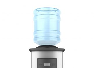 modern metallic water cooler isolated on white background