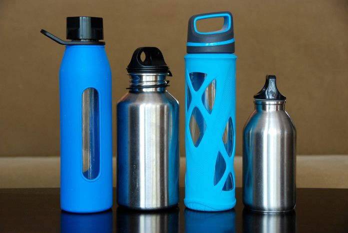 four different stainless water tumblers